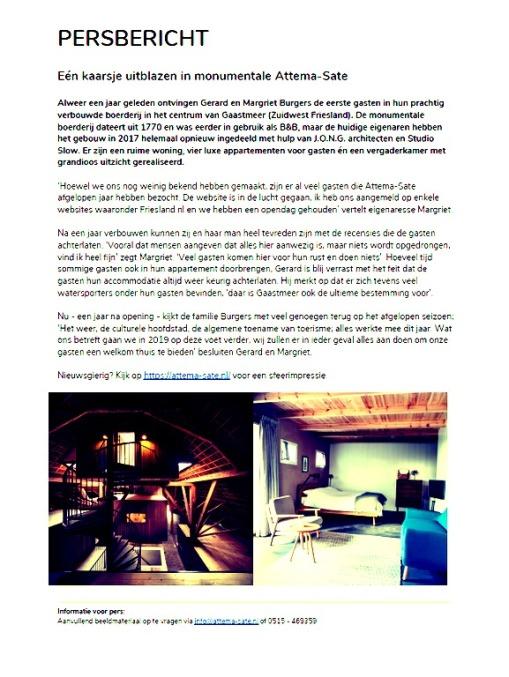 persbericht attema-sate gaastmeer